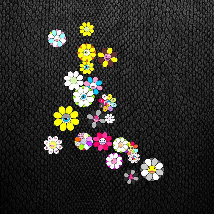 Black snake and social flowers - Ilya Konyukhov