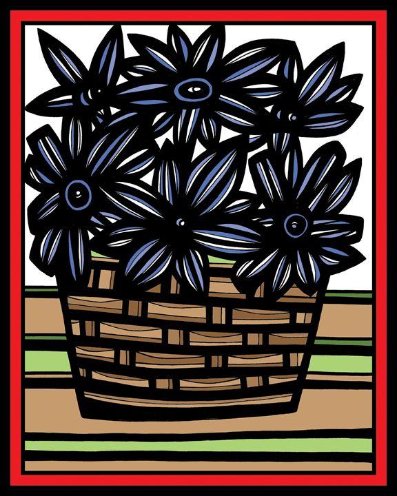 Naiad Flowers Blue Green Red - 631 Art
