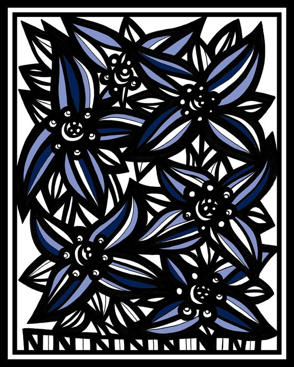 Jejune Flowers Blue White Black - 631 Art
