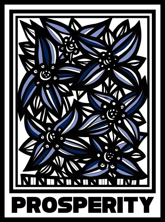 Forte Flowers Blue White Black - 631 Art
