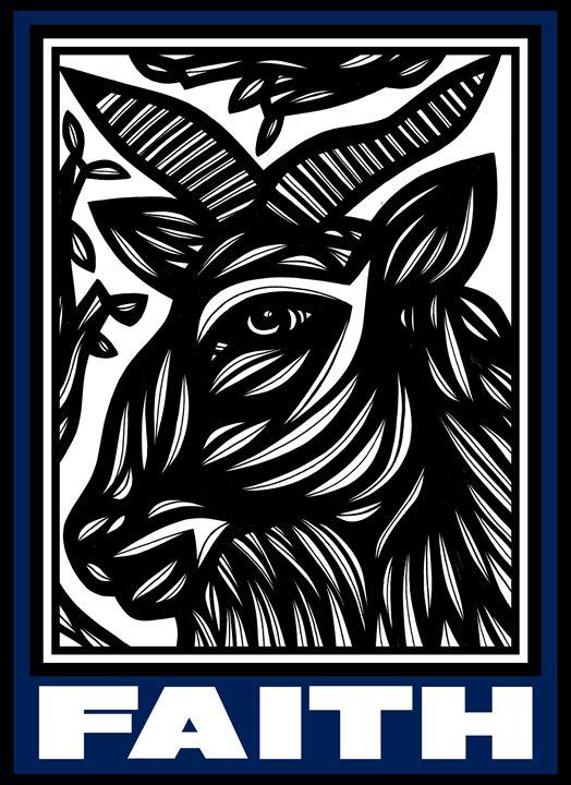 Capriccio Ram Goat Antelope Deer Blu - 631 Art