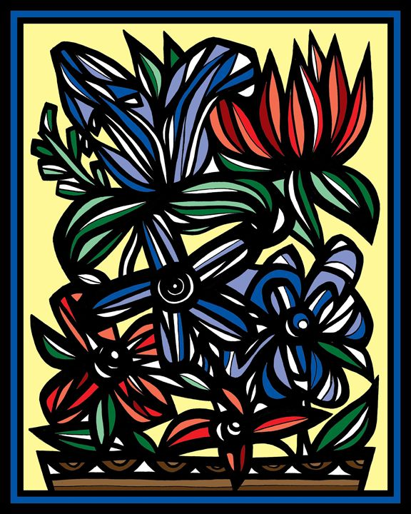 Element Flowers Yellow Red Blue - 631 Art