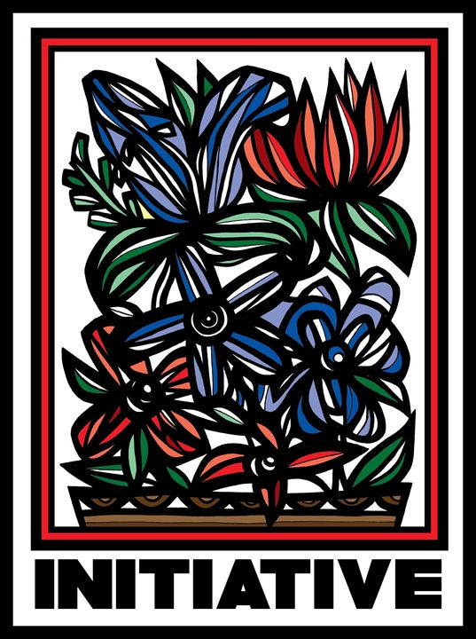 Concupiscence Flowers Red Green Blue - 631 Art