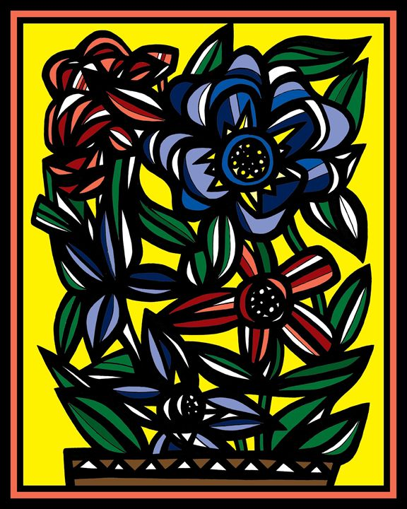 Civility Flowers Yellow Red Blue - 631 Art