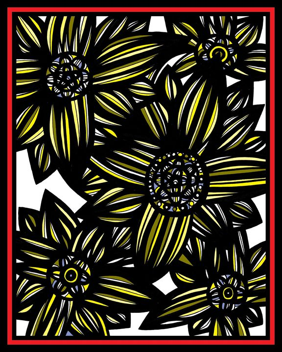 Alabaster Flowers Yellow Red Black - 631 Art