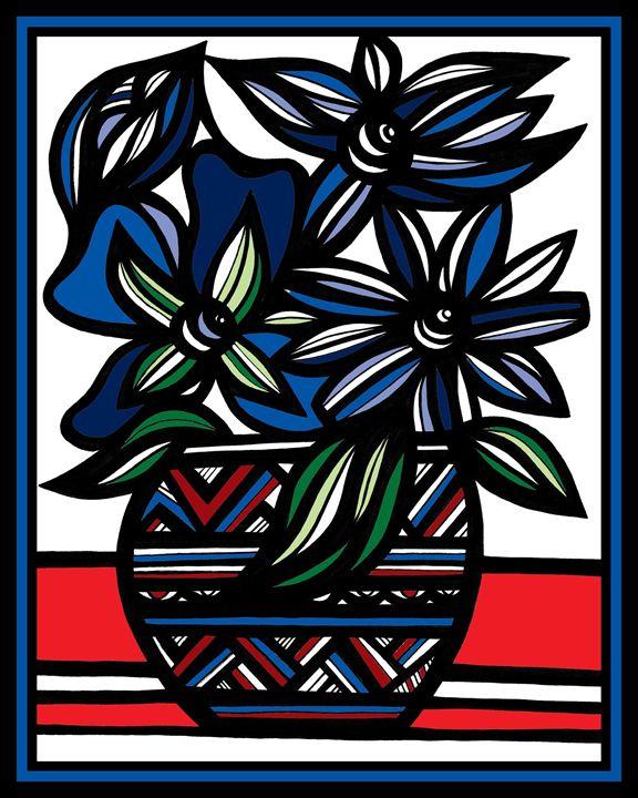 Vexation Flowers Blue Black - 631 Art