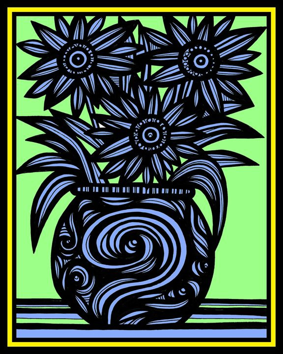 Symphony Flowers Yellow Blue Black - 631 Art
