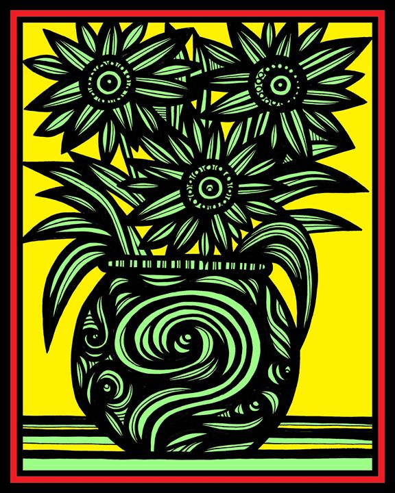 Numeral Flowers Yellow Red Black - 631 Art