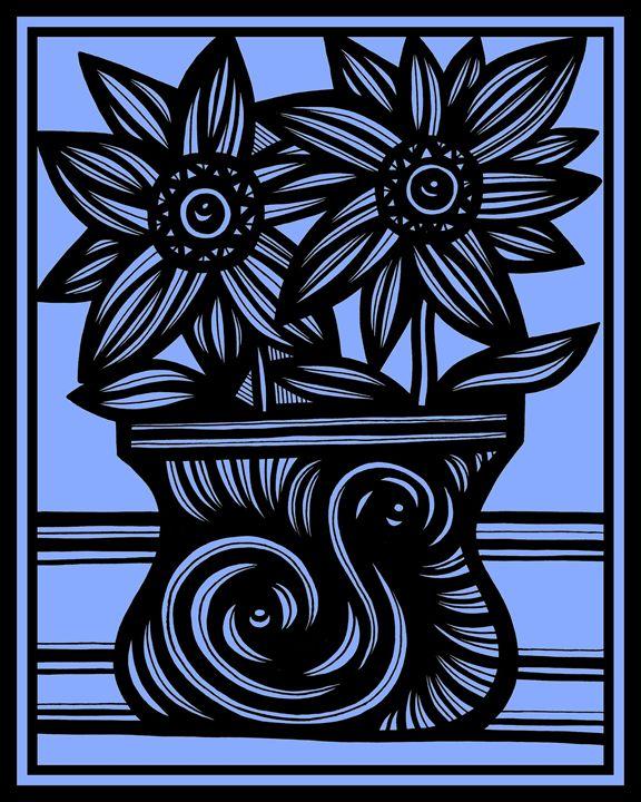 Liaison Flowers Blue Black - 631 Art