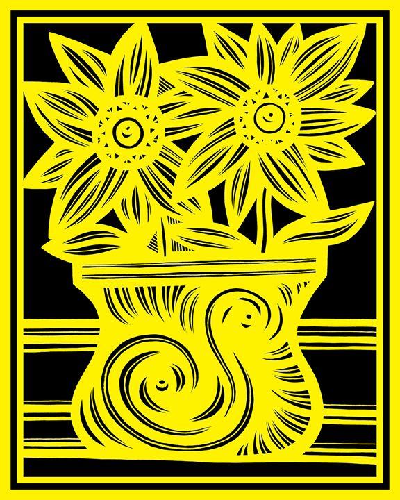 Lexiphanes Flowers Yellow Black - 631 Art