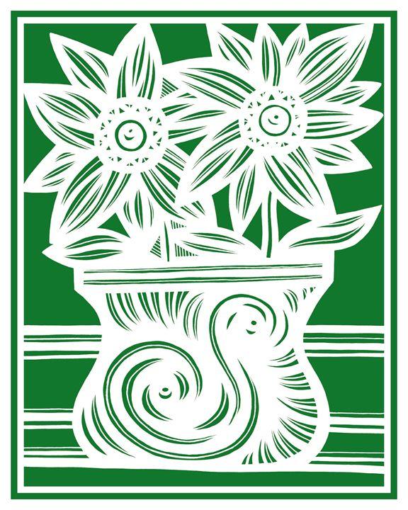 Promethean Flowers Green White - 631 Art
