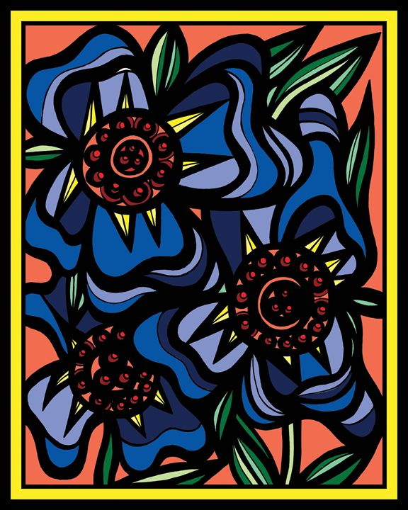 Penumbra Flowers Yellow Red Blue - 631 Art