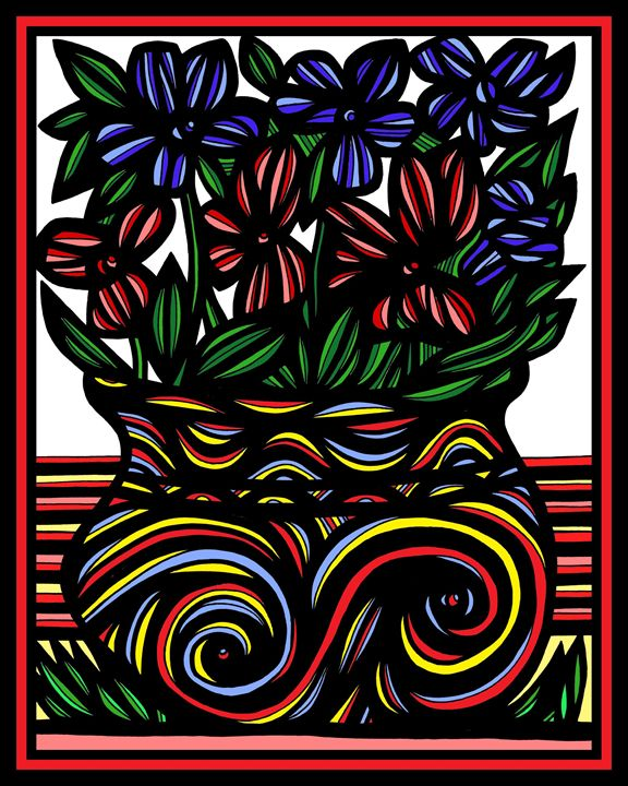 Sinecure Flowers Yellow Red Blue - 631 Art