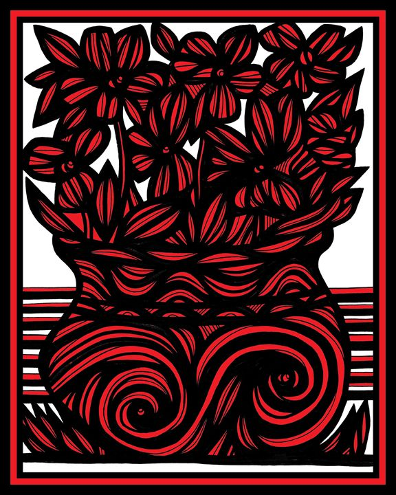 Sapience Flowers Red White Black - 631 Art