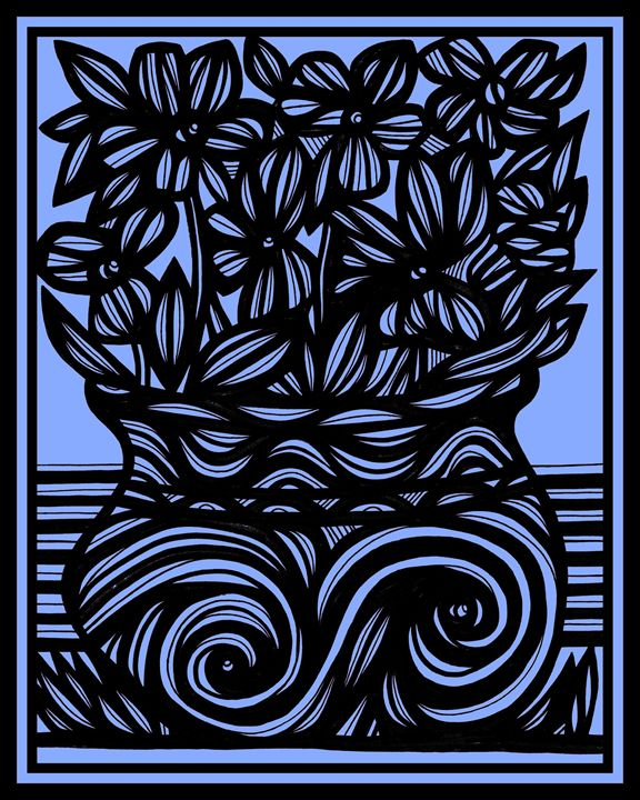 Nepenthe Flowers Blue Black - 631 Art