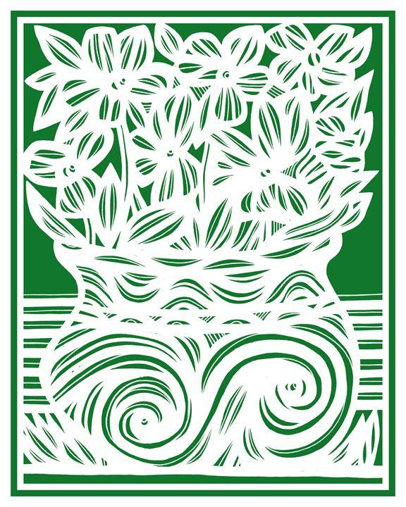 Sleep Flowers Green White - 631 Art