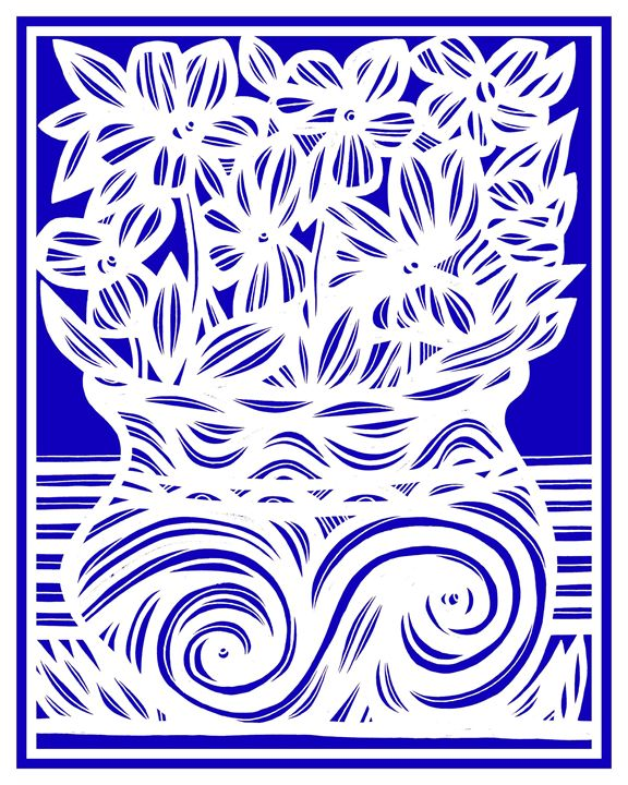 Solecism Flowers Blue White - 631 Art
