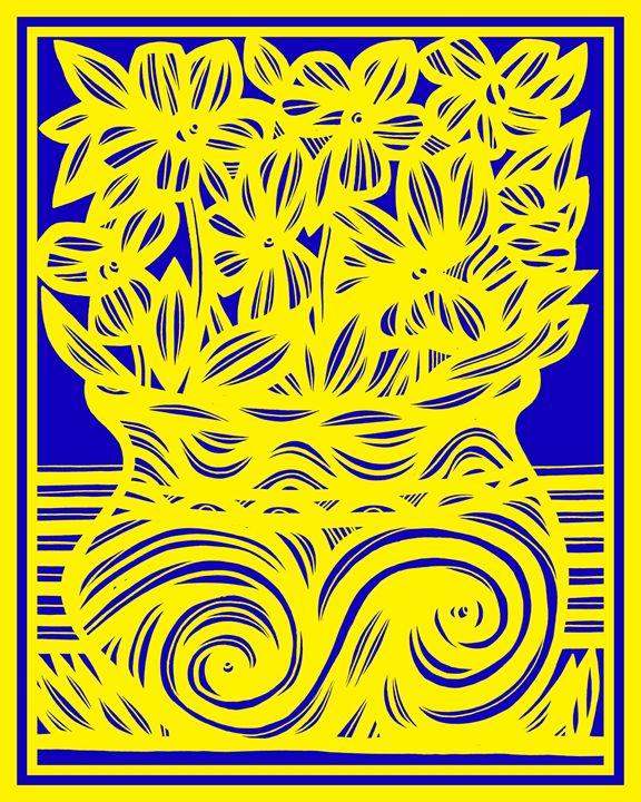 Opaque Flowers Yellow Blue - 631 Art