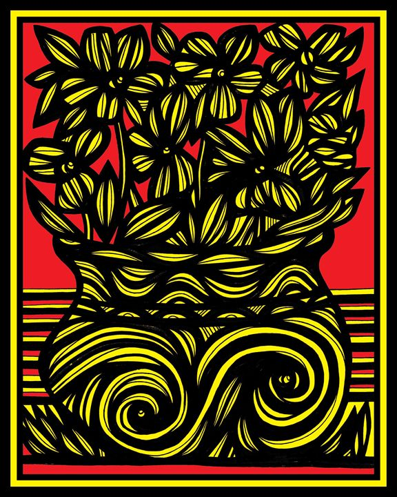 Cynophilist Flowers Yellow Red Black - 631 Art