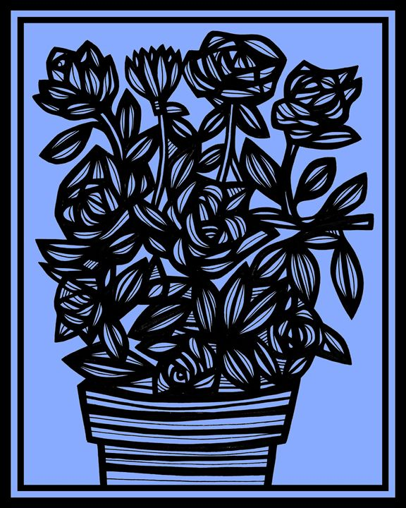 Coercion Flowers Blue Black - 631 Art