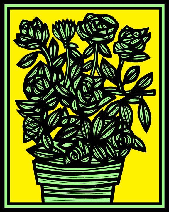Matriculate Flowers Yellow Black - 631 Art