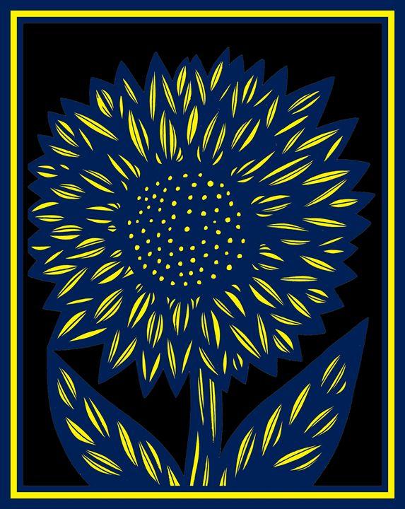 Façade Flower Yellow Blue - 631 Art