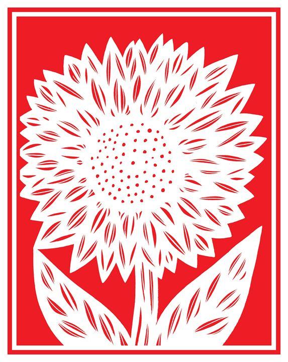 Delphic Flower Red White - 631 Art