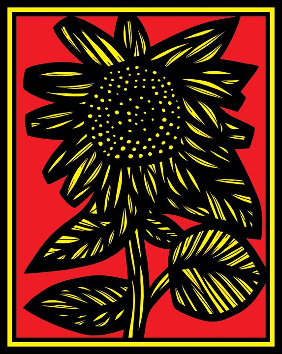 Dulcet Flowers Yellow Red Black - 631 Art