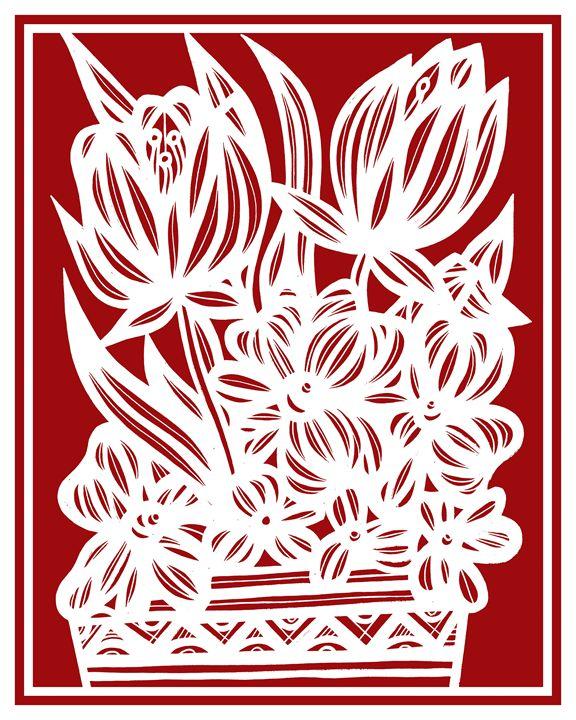 Seufer Flowers Red White - 631 Art