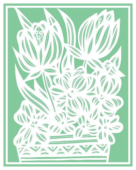 Pettry Flowers Green White - 631 Art