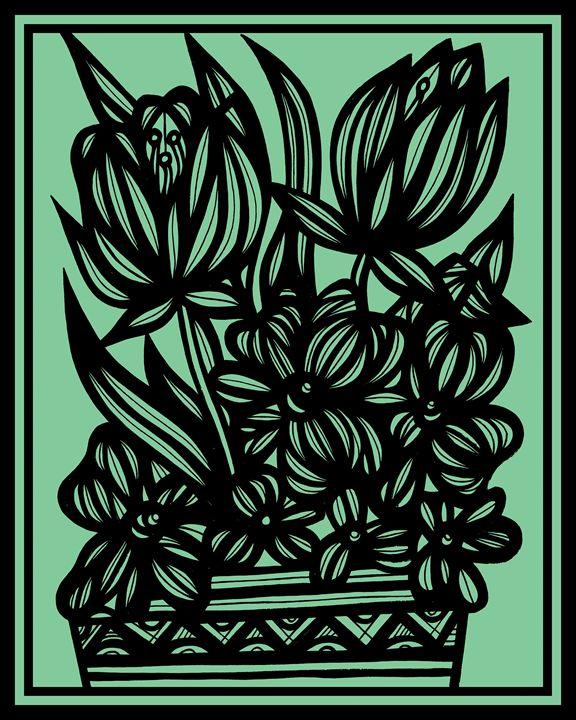 Kisiel Flowers Green Black - 631 Art