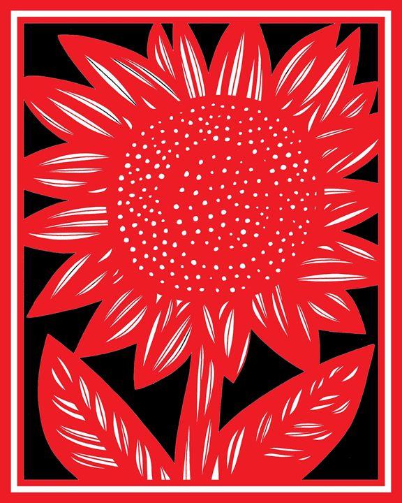 Gracile Sunflower Red White Black - 631 Art