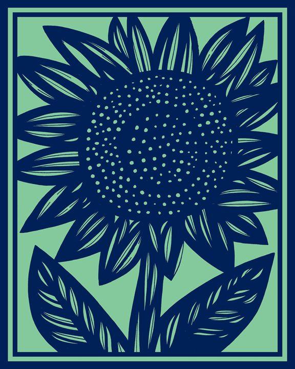 Cathartic Sunflower Blue Green - 631 Art