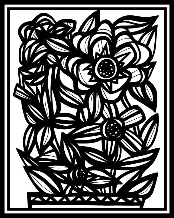 Conflate Flowers Black and White - 631 Art