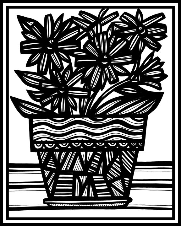 Ensorcell Flowers Black and White - 631 Art