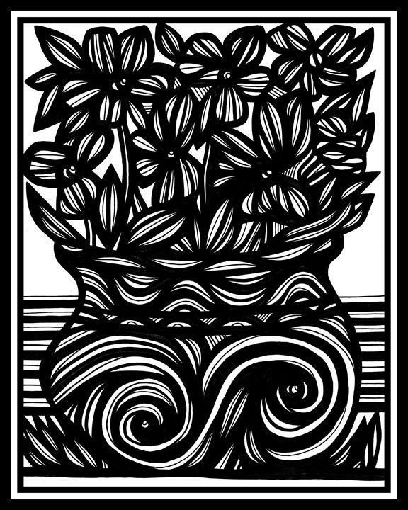 Desideratum Flowers Black and White - 631 Art