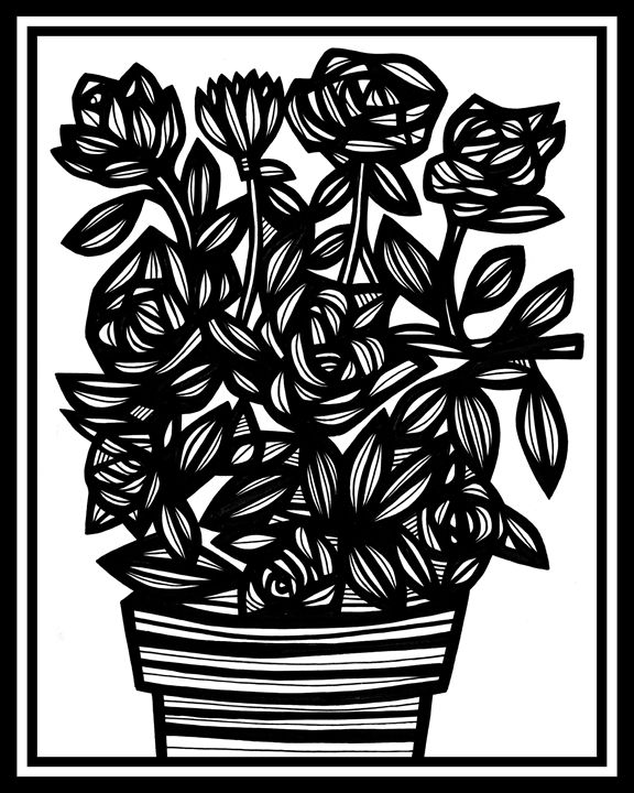 Benevolence Flowers Black and White - 631 Art