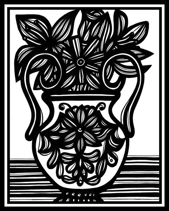 Acataphasia Flowers Black and White - 631 Art