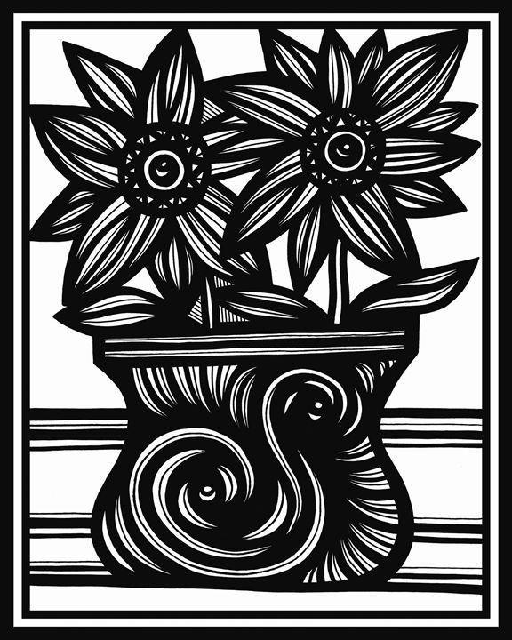 Resplendence Flowers Black and White - 631 Art