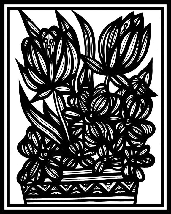 Serendipity Flowers Black and White - 631 Art