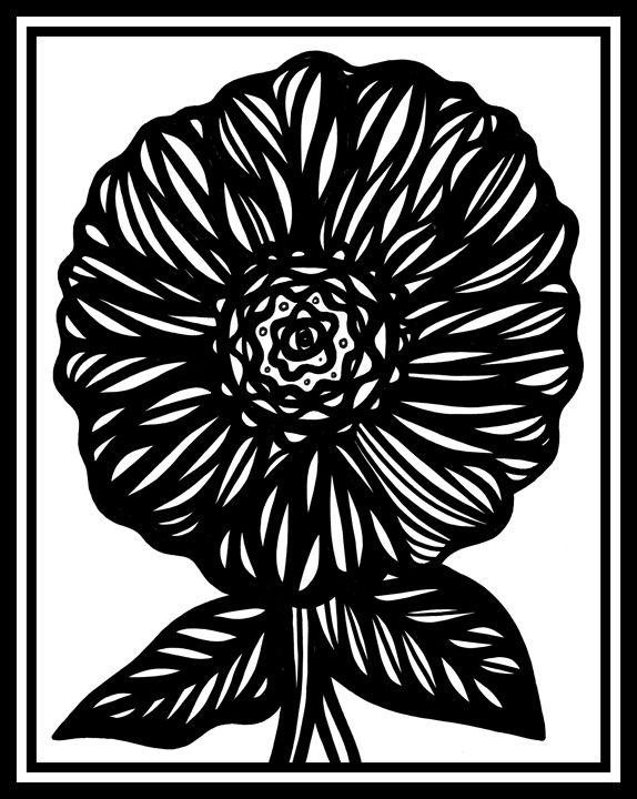 Imbrication Flowers Black and White - 631 Art