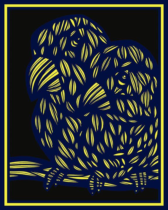 Hauss Parrot Yellow Blue Black - 631 Art