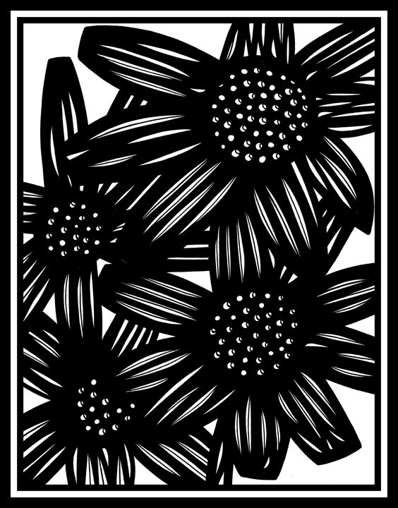 Bungalow Flowers Black and White - 631 Art