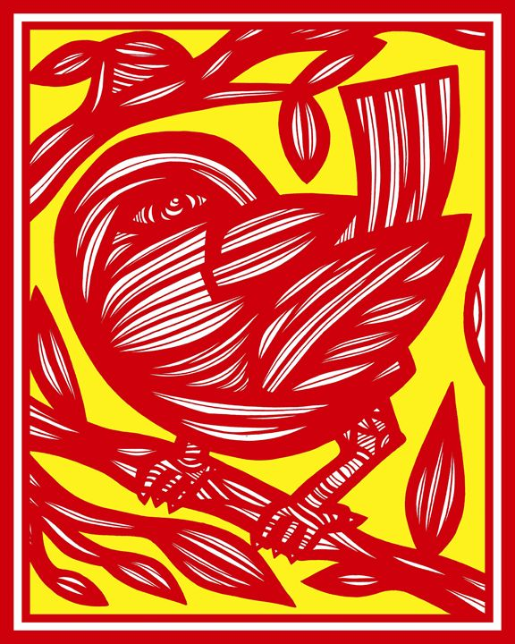 Dimopoulos Bird Yellow Red - 631 Art