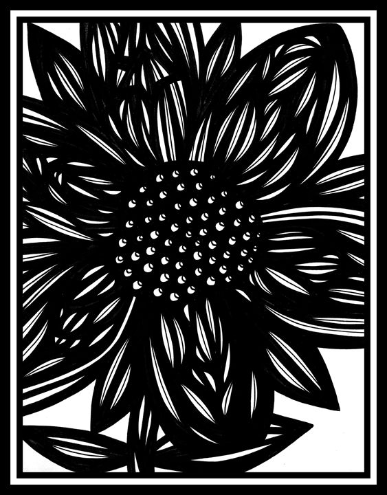 Bucolic Flowers Black and White - 631 Art