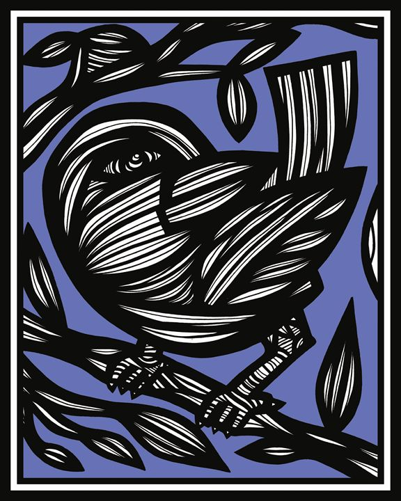 Zahourek Bird Blue White Black - 631 Art