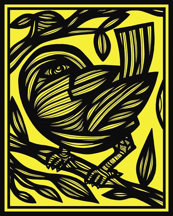 Penunuri Bird Yellow Black - 631 Art