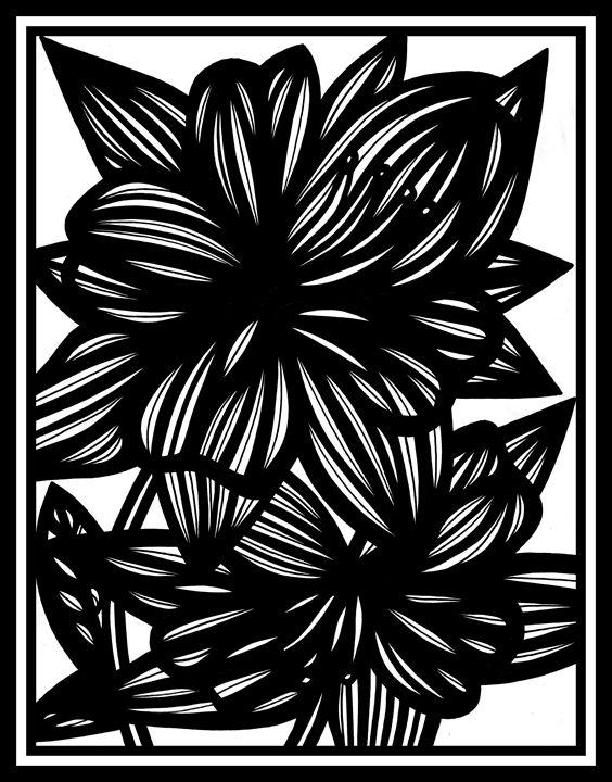 Shimmer Flowers Black and White - 631 Art
