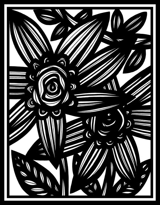 Obsequious Flowers Black and White - 631 Art