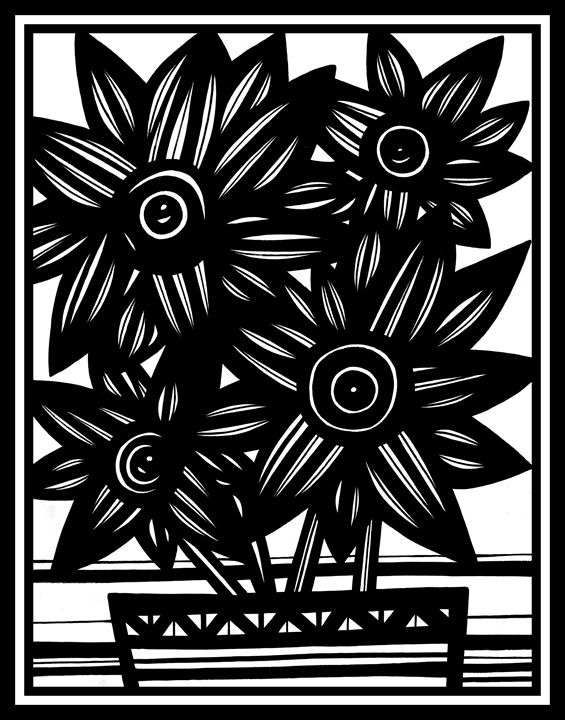 Material Flowers Black and White - 631 Art